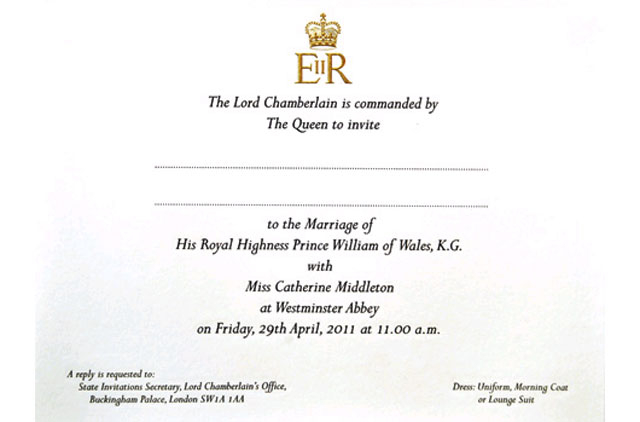Wedding Of The Century Royal Invitation On The Cards Uae