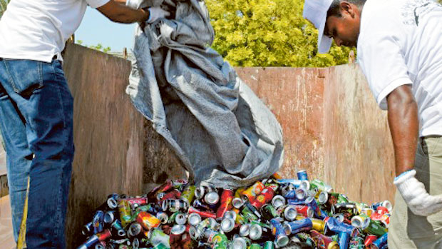 1,500kg of aluminium cans collected during EEG's recycling campaign in Dubai