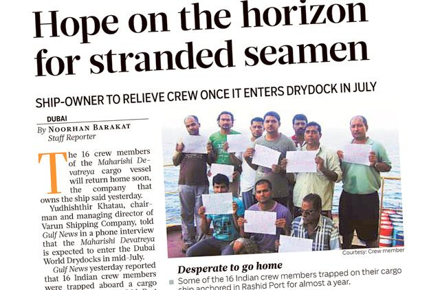 Seven stranded seamen return home after months | Uae – Gulf News