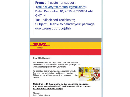 Dhl Parcel Used As A Bait In Phishing Scam Uae Gulf News