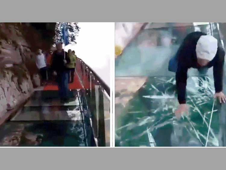 Scariest hanging glass bridge 'cracks': What really happened