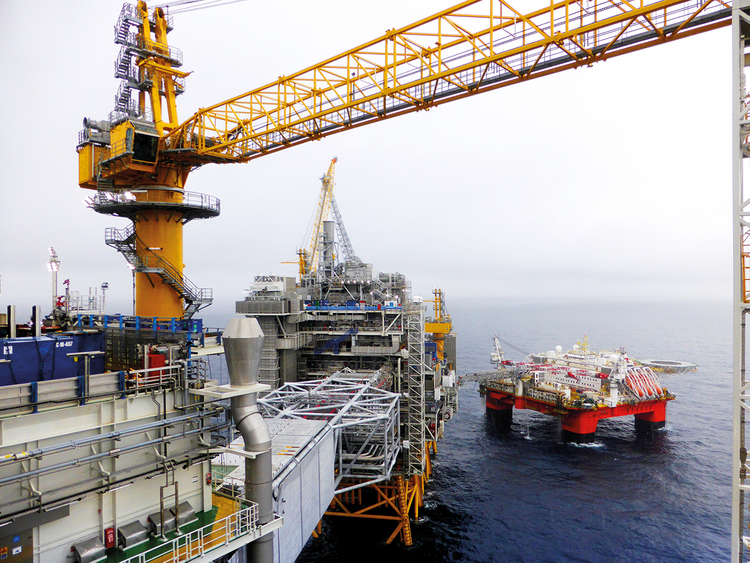 A view of Equinor's oil platform in Johan Sverdrup oilfield