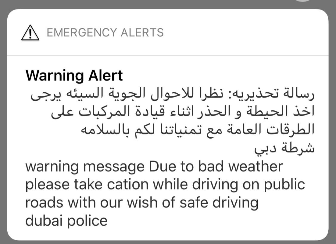 Dubai police warning