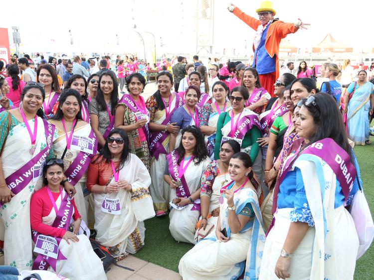 Dubai Women's Run sari clad runners