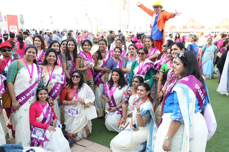 Dubai Women's Run sari clad runners