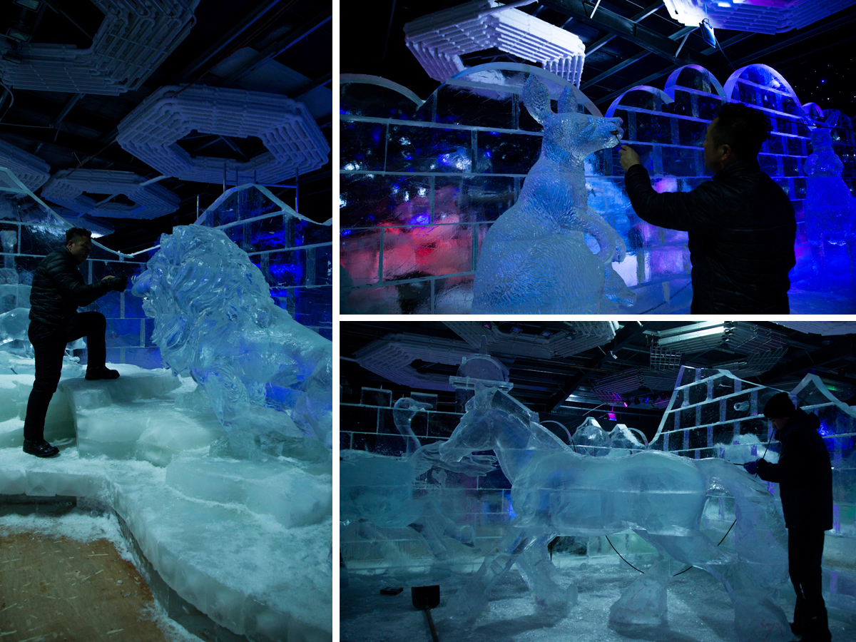 Dubai Garden Glow Ice Park animal sculptures