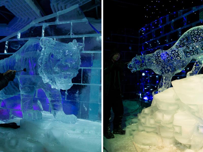 Dubai Garden Glow Ice Park animal sculptures