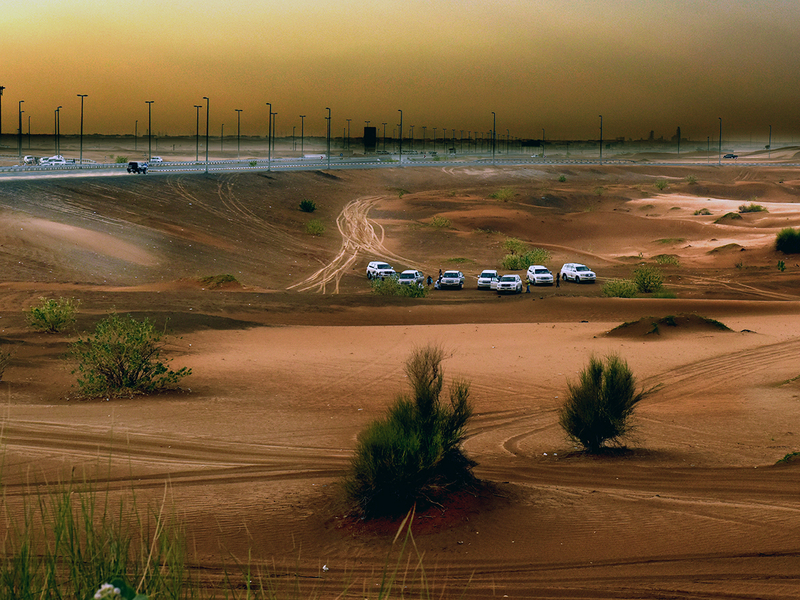 Visitors enjoy the beauty of desert