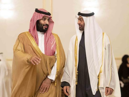 Shaikh Mohamed Bin Zayed with Saudi Crown Prince Mohammad Bin Salman   23112018