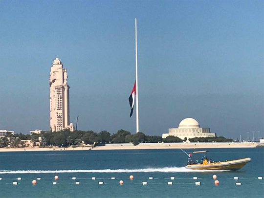 UAE flag is hoisted half mast