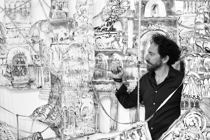 kevork mourad with his installation Time Immortal - acrylic on muslin fabric