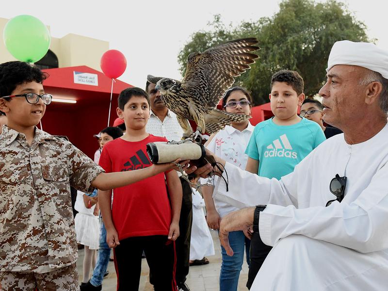 Children enjoy a falcon show