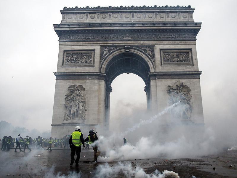 Demonstrators clash