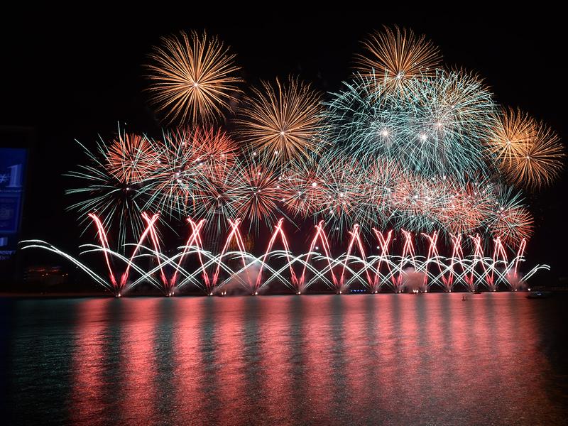 Fireworks display at Abu Dhabi corniche
