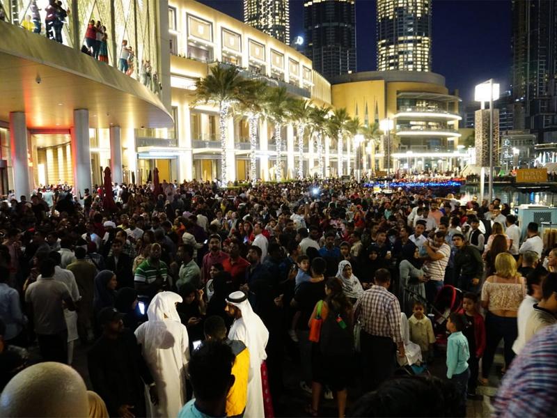 Residents and visitors throng near Burj Khalifa