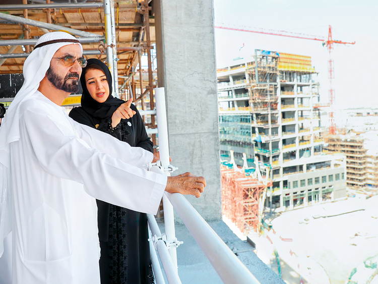 Shaikh Mohammad is briefed by Reem Ebrahim Al Hashemi