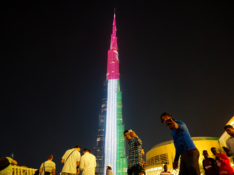 UAE colours on Burj Khalifa