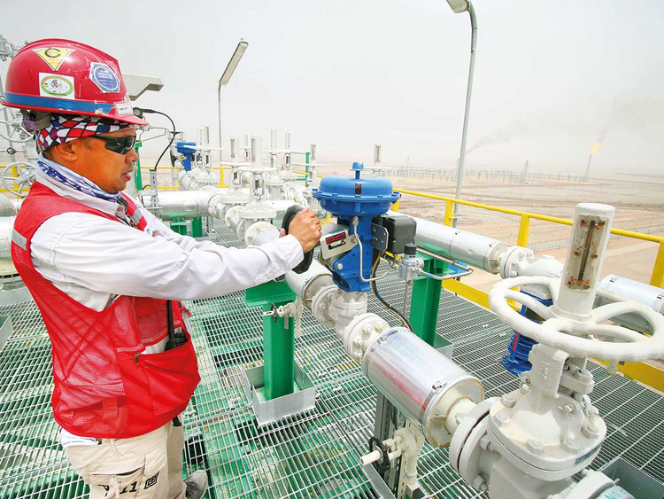 A degassing station in the Zubair oil and gas field, Iraq