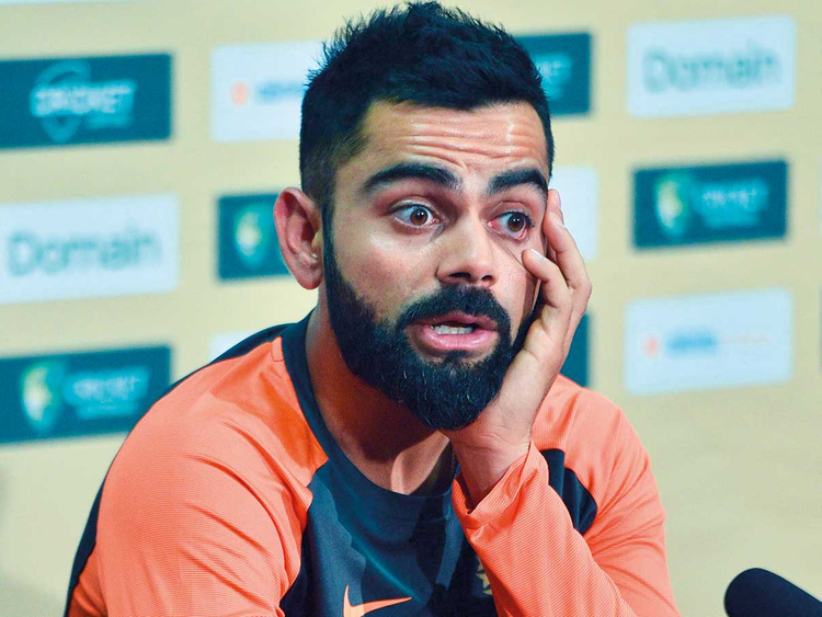 India captain Virat Kohli attends a press