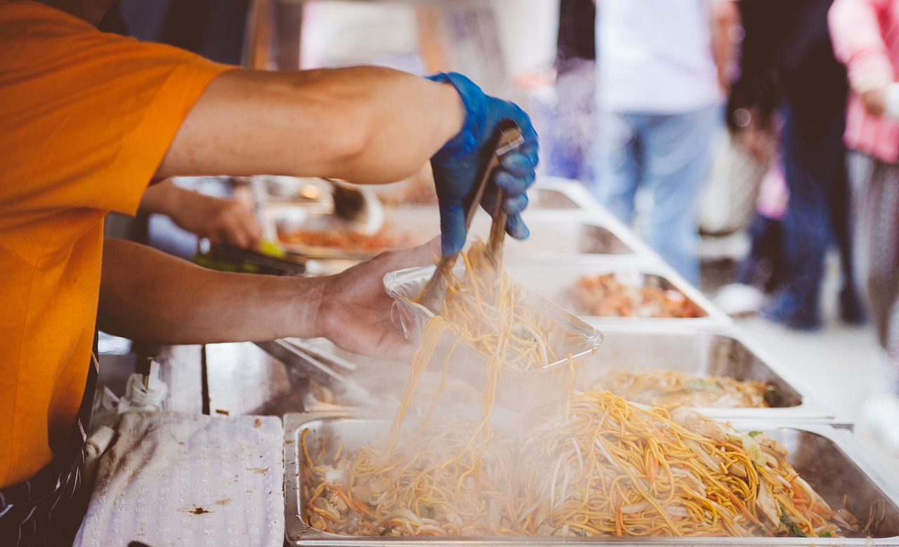 Street food cooking food truck