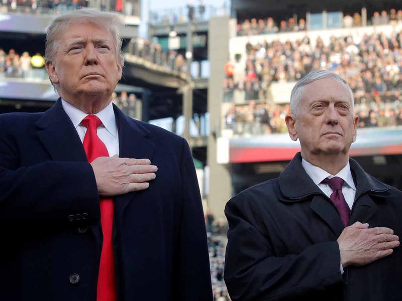 Donald Trump and Defense Secretary Jim Mattis 21122018