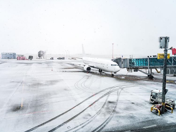 snow at airport runway winter generic