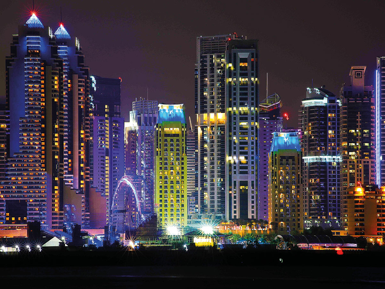 A view of Dubai Marina from Palm Island