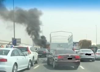 Heavy traffic as vehicle burns on Dubai road following multi