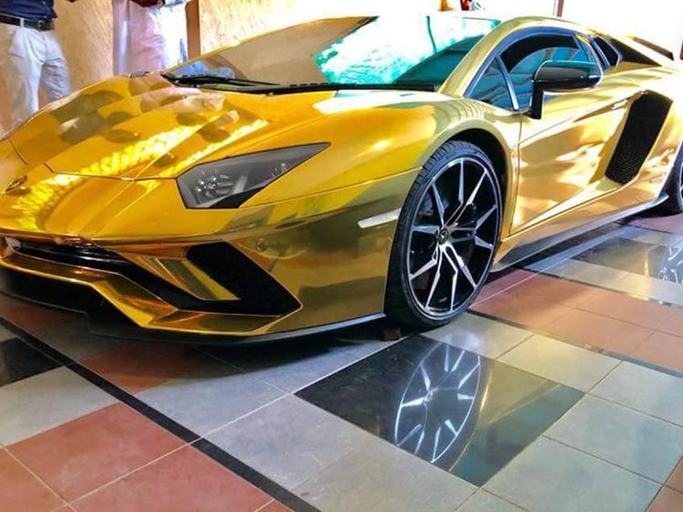 A gold Lamborghini arrives in Pakistan