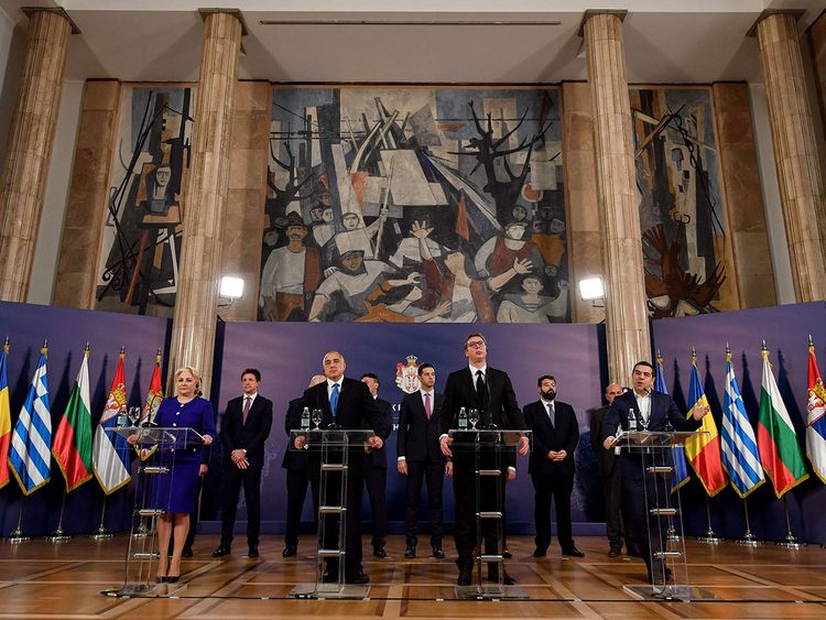 Serbian President Aleksandar Vucic and other PMs
