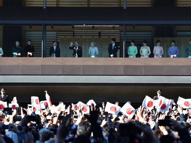 Japan's Emperor Akihito crowds