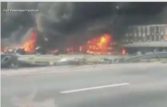 Seven people were killed in a highway crash a fuel spill sparks massive fire