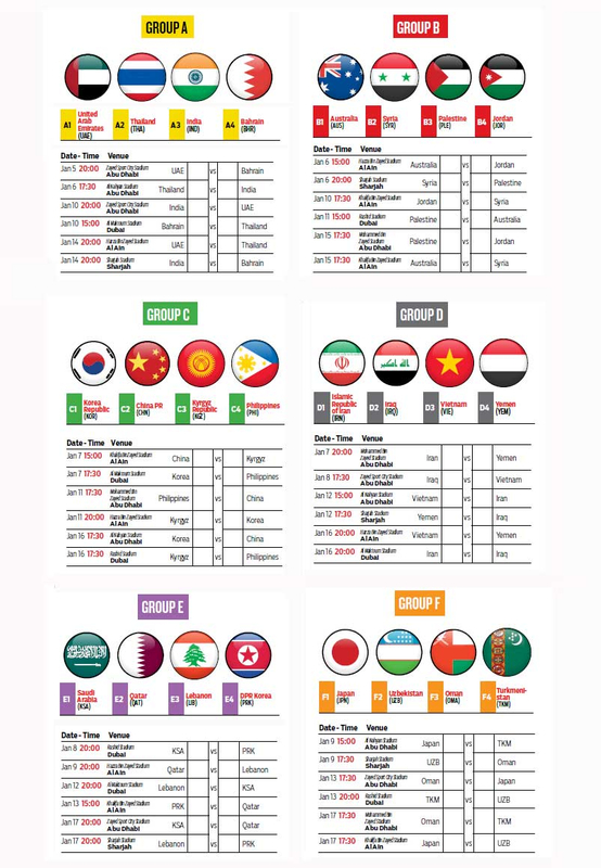 Match schedules for Asian Cup group stages_0092