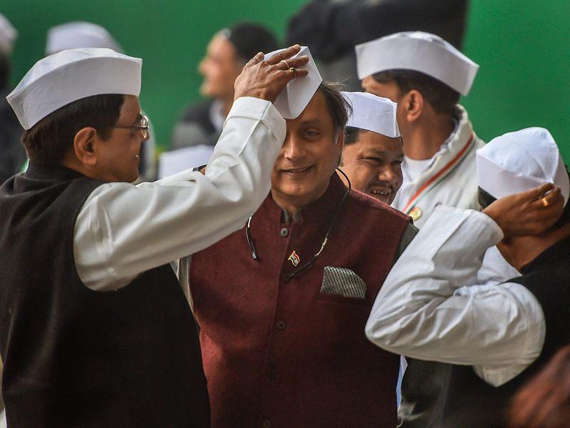 A Gandhi cap is placed
