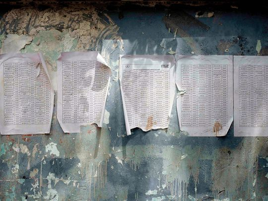 A worn-out list of registered names for aid in Aden