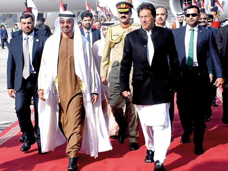 Imran Khan welcoming Shaikh Mohammad