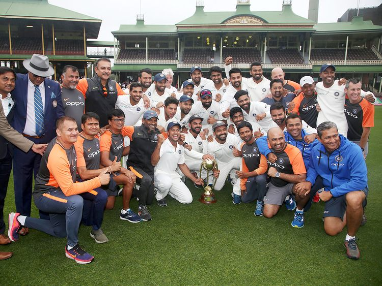The Indian cricket team and support staff
