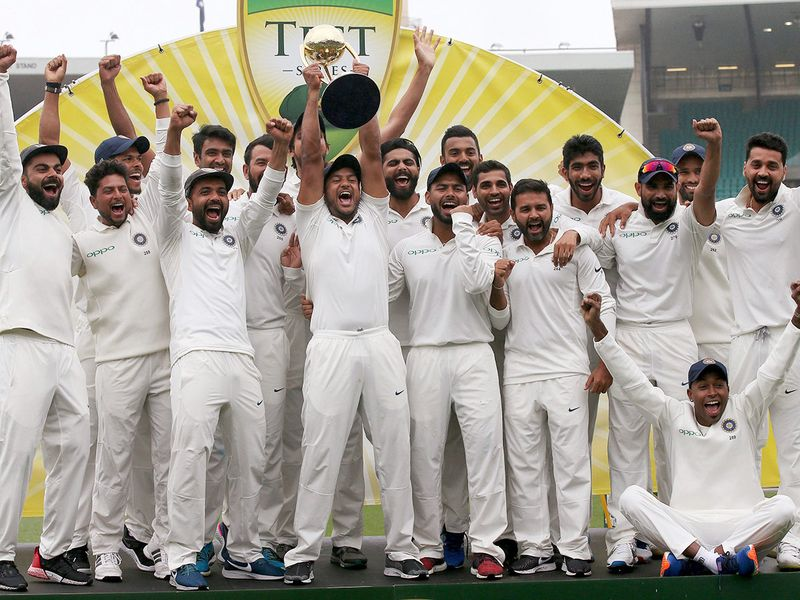 The Indian cricket team celebrate