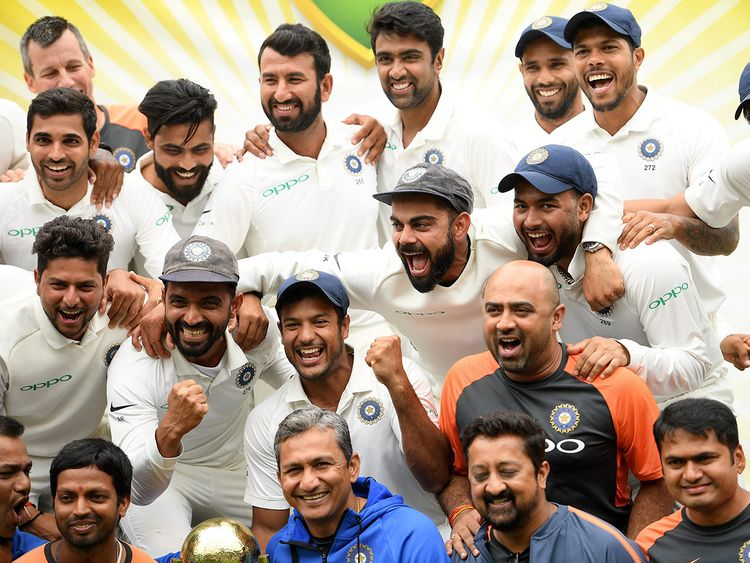 The Indian team celebrates a 2-1 series victory