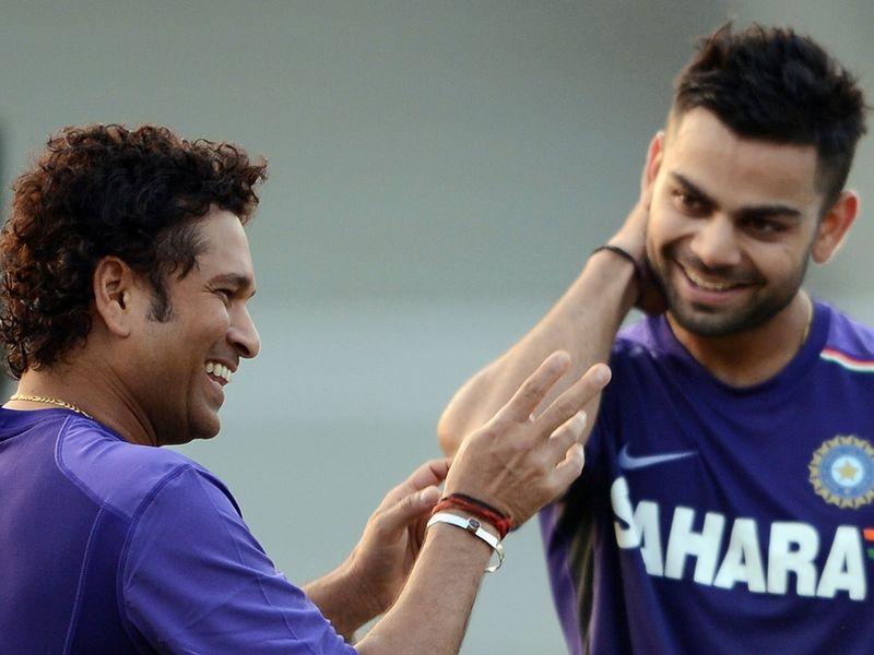 Sachin Tendulkar with Virat Kohli