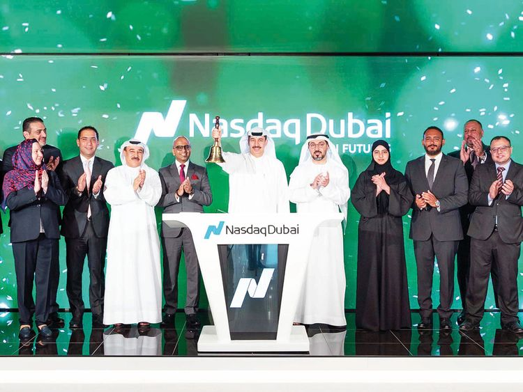 DIFC governor Eisa Kazim rings the bell at Nasdaq Dubai