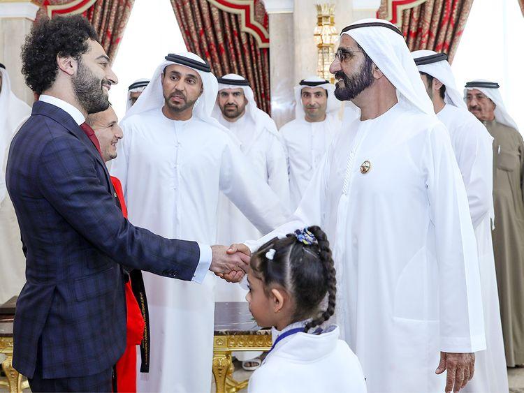 Shaikh Mohammad receives Egyptian footballer Mohammad Salah
