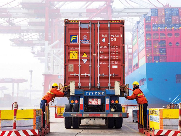 A container at the port in Qingdao