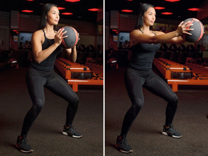 Medicine Ball Squat Front Press