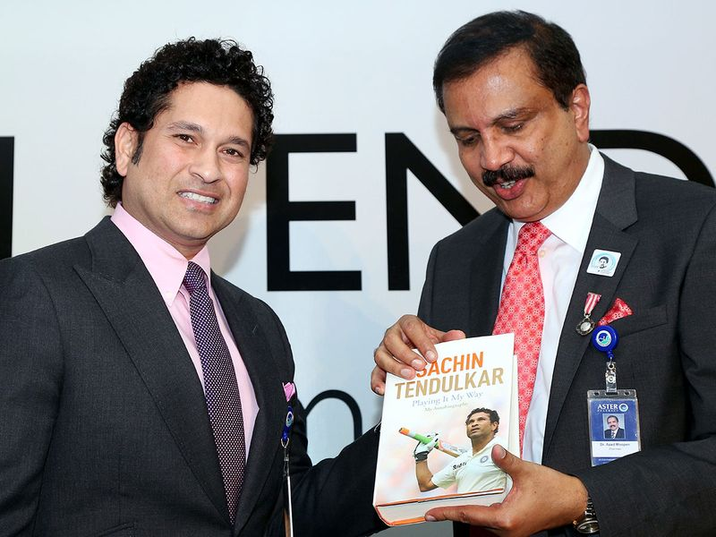 Azad Moopen with cricketer Sachin Tendulkar