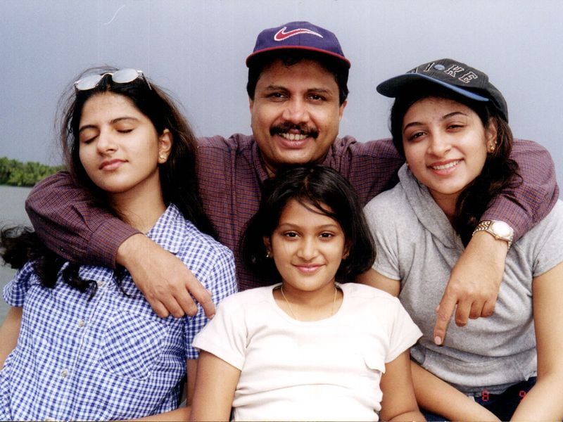Azad Moopen with his daughters.