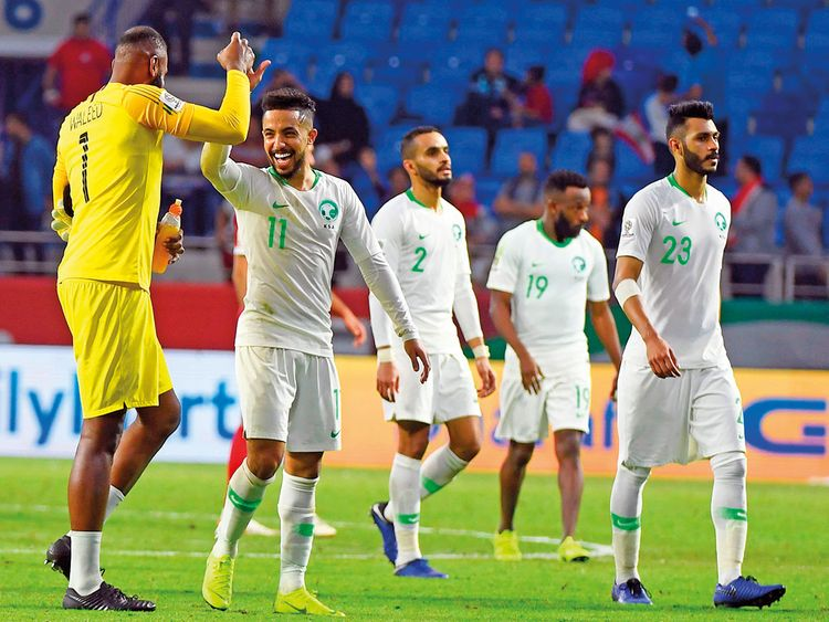 Saudi Arabian players celebrate
