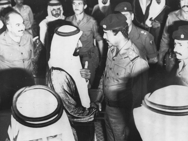Shaikh Zayed Bin Sultan Al Nahyan with Saddam Hussain in 1982.
