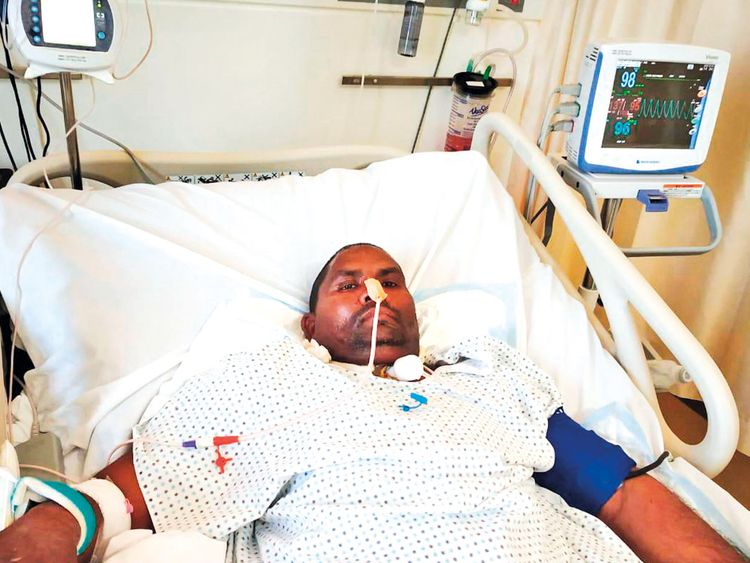 Hazrat Hussain in hospital after the brain surgery.