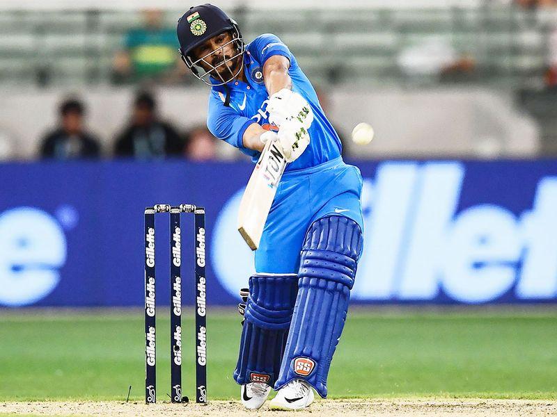India's Kedar Jadhav plays a shot